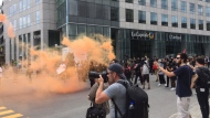 Police declared an antifa protest in Quebec City illegal after some demonstrators began throwing bottles. (Photo: CTV Montreal/Rob Lurie)