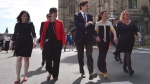 Status of Women Minister Maryam Monsef, left to right, Minister of International Development and La Francophonie Marie-Claude Bibeau, Prime Minister Justin Trudeau, Sophie Gregoire Trudeau and Women Deliver President and CEO Katja Iversen arrive at an event in Ottawa on Tuesday, June 13, 2017 THE CANADIAN PRESS/Sean Kilpatrick