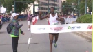 Evans Maiko crossing the finish late to win his first Edmonton Marathon on Sunday, August 20, 2017.