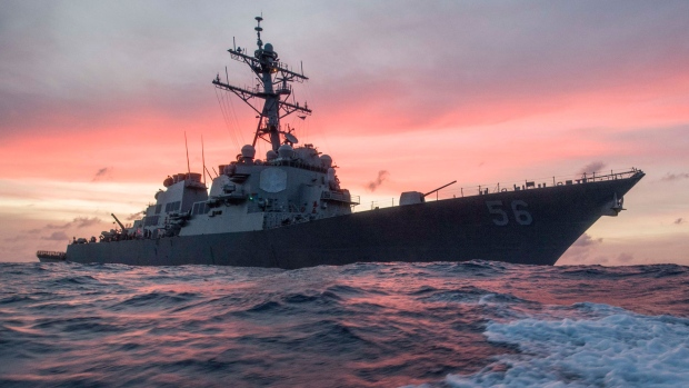 In this Jan. 22, 2017, photo provided by U.S. Navy, the USS John S. McCain conducts a patrol in the South China Sea while supporting security efforts in the region. (James Vazquez/U.S. Navy via AP)