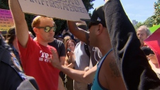 The few far right demonstrators that did come to City Hall on Aug. 19, 2017 were vastly outnumbered by pro-immigration counter-protestors. The organizers of the original far-right rally were conspicuously absent. (CTV)