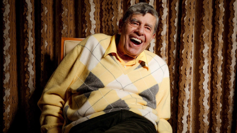 In this Aug. 24, 2016, photo, comedian Jerry Lewis reacts during an interview at the Four Seasons Hotel in Los Angeles. (THE CANADIAN PRESS/AP-Invision, Rich Fury)