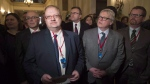 Manitoba Health Minister Kelvin Goertzen, (centre left), Quebec Health Minister and Social Services Minister Gaetan Barrette (centre right) and other provincial health ministers in Ottawa, Monday December 19, 2016. (THE CANADIAN PRESS/Adrian Wyld)