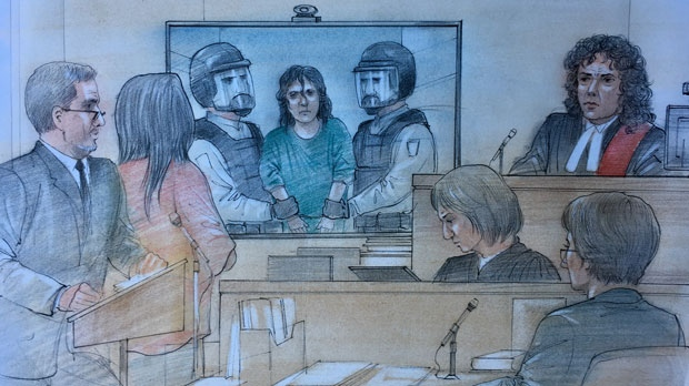 Toronto-area woman Rehab Dughmosh appears before a judge after being ordered to be brought from her cell by force on August 21, 2017. (Sketch by John Mantha)