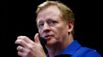 NFL Commissioner Roger Goodell talks with the Arizona Cardinals football team season ticket holders at University of Phoenix Stadium, in Glendale, Ariz. (AP Photo/Ross D. Franklin, File)