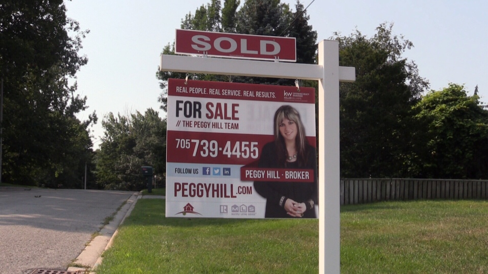 A home that was recently sold can be seen in Barrie, Ont. on Monday, Aug. 21, 2017. (Mike Arsalides/ CTV Barrie)