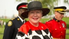 Ontario Lieutenant Governor Elizabeth Dowdeswell is seen wearing one of her many fashion designs she sewed herself.