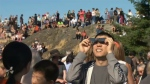 Solar gazers take in the 2017 eclipse from Mount Tolmie in Saanich. Aug. 21, 2017. (CTV Vancouver Island)