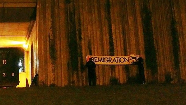 """Atalante Quebec set up several banners reading """"Remigration"""" at the Olympic Stadium. The group wants to create a state for ethnic francophones. (Photo: Facebook)"""