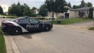 Police tape surrounds an area of Hickling Trail in Barrie, Ont on Monday, Aug. 21, 2017 after a shooting. (CTV Barrie)