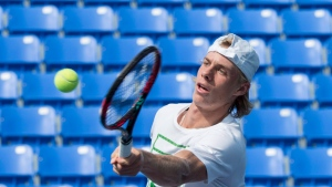 Denis Shapovalov returns the ball during a training session as he prepares for the upcoming U.S. Open, Thursday, August 17, 2017 in Montreal. Canadians Shapovalov and Felix Auger-Aliassime won their first-round qualifying matches Tuesday at the US Open. (THE CANADIAN PRESS/Paul Chiasson)