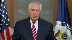 Rex Tillerson speaks at the U.S. State Dept.