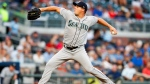 Seattle Mariners starting pitcher Andrew Albers (63) delivers in the first inning of a baseball game against the Atlanta Braves, Monday, Aug. 21, 2017, in Atlanta. (AP Photo/Todd Kirkland)