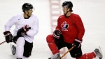 Jarome Iginla, left, from St. Albert, Alta., and Shane Doan, from Halkirk, Alta., chat during the Men's National Olympic Hockey Team orientation camp in Calgary, Wednesday, Aug. 26, 2009. (THE CANADIAN PRESS/Jeff McIntosh)