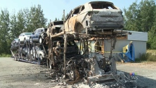 vehicles destroyed after transport truck erupts