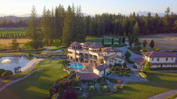 "Looking to downsize, owners of a 13,000-square-foot mansion hope to sell their home and the 77-acre lot it sits on for $28.8 million.  <br> The three-storey home, which realtors describe as ""an old world Tuscan vineyard estate,"" includes eight bedrooms, an elevator, a movie theatre, bar, wine cellar and catering kitchen. Outside, the property features a vineyard, pool and hot tub, massive patio, pond and two lakes. (Realtor.ca)"
