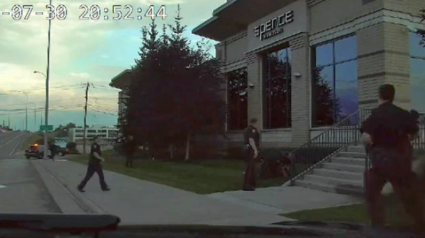 Video still of a recording of the arrest of Clayton Prince along Macleod Trail S.W on July 30, 2016 (Court exhibit)
