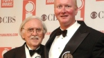 Thomas Meehan, left, and Mark O'Donnell pose with their Tony awards for best book of a Musical for 'Hairspray' during the 57th Annual Tony Awards at New York's Radio City Music Hall on June 8, 2003. (AP / Mary Altaffer)