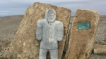 An unfinished memorial to the Inuit forced to settle further North by the Canadian government. (Omar Sachedina)