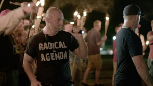 Christopher Cantwell attends a white nationalist rally in Charlottesville, Va. on Friday, Aug. 11, 2017. (Vice News Tonight)