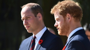 Prince William, left, and Prince Harry arrive at the Canadian National Vimy Memorial in Vimy, near Arras, northern France on April 9, 2017. (Philippe Huguen/Pool Photo, File via AP)