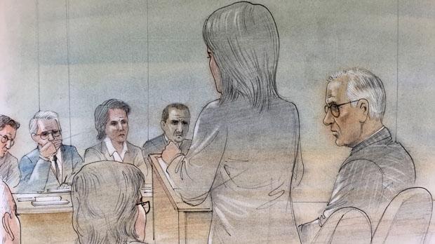 Judge Bernd Zabel appears in court on August 23, 2017. (Sketch by John Mantha)