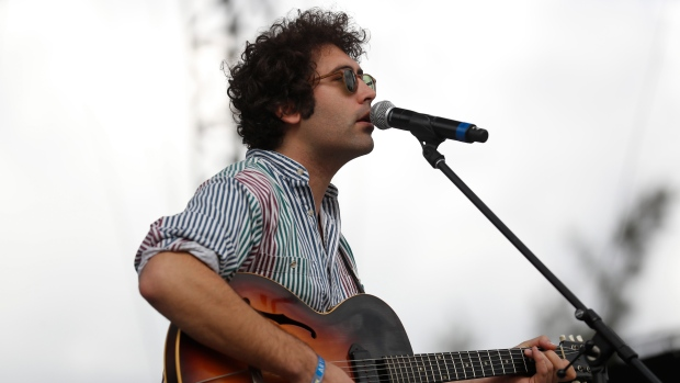 FILE - In this Sunday, Nov. 20, 2016 file photo, Miles Michaud, lead singer of the California band Allah-Las, performs during the second and last day of the Corona Capital Music Festival in Mexico City. (AP Photo/Dario Lopez-Mills, file)