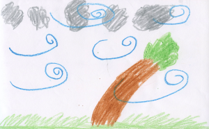 Weather art by Alice, age 6.