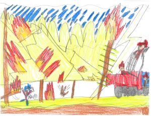 Weather art by Dalan, age 9, from Bishop Elementary.
