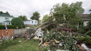 Residents survey the damage from a category one tornado, Wednesday, August 23, 2017 in Lachute, Que., northwest of Montreal.THE CANADIAN PRESS/Ryan Remiorz