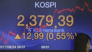 A currency trader walks by the screens showing the Korea Composite Stock Price Index (KOSPI) at the foreign exchange dealing room in Seoul, South Korea on Thursday, Aug. 24, 2017. (AP / Lee Jin-man)