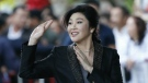 Thailand's former Prime Minister Yingluck Shinawatra waves to supporters as she arrives at the Supreme Court to make her final statements in a trial on a charge of criminal negligence in Bangkok, Thailand on Aug. 1, 2017. (AP / Sakchai Lalit)