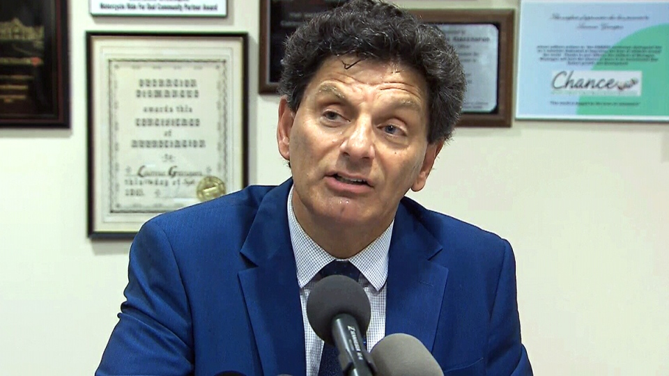 Lawyer Lawrence Greenspon announces that his client Sen. Mike Duffy is suing the Senate and the RCMP of Canada, in Ottawa, Thursday, Aug. 24, 2017.