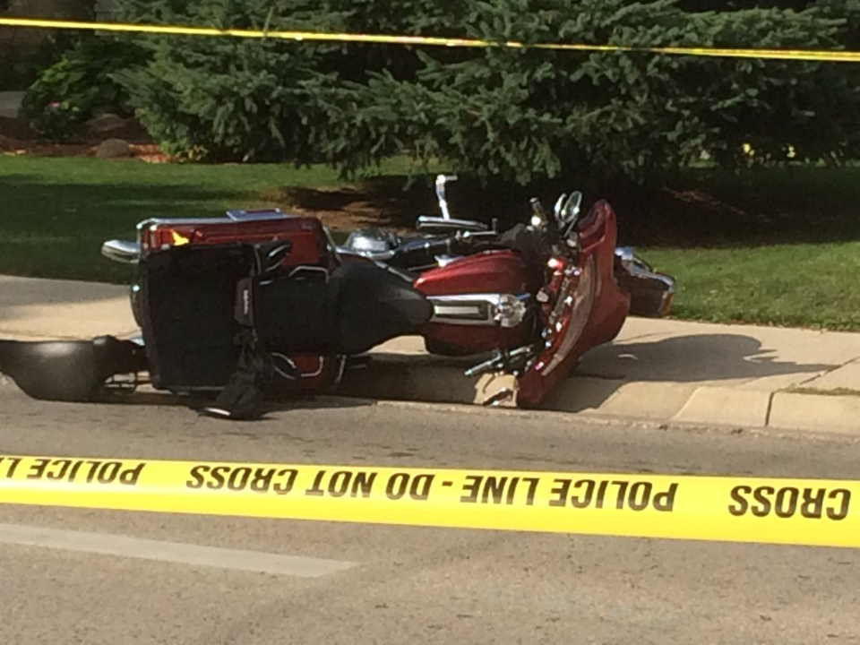 A motorcycle crash at Hale and Brydges has left one person with serious injuries. (Sean Irvine / CTV London)
