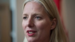 Minister of Environment and Climate Change Catherine McKenna speaks to the media in downtown Vancouver, Thursday, August 23, 2017. (THE CANADIAN PRESS / Jonathan Hayward)