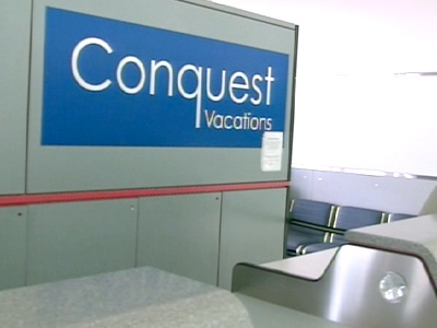 An empty Conquest Vacations counter is seen at Pearson Airport in Toronto, on Wednesday, April 15, 2009.