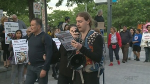 Dozens of people protested Montreal's urban rodeo at the Old Port on Aug. 24, 2017