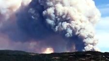 Wildfire burning east of Kelowna
