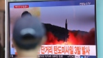 A man watches a TV screen showing file footage of North Korea's missiles launch at the Seoul Train Station in Seoul, South Korea on Saturday, Aug. 26, 2017. (AP / Lee Jin-man)