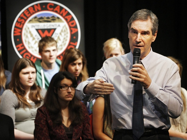 Liberal Leader Michael Ignatieff participates in a town hall meeting with Calgary High School students and other members of the community, on Monday, April 6, 2009. (Jeff McIntosh / THE CANADIAN PRESS)