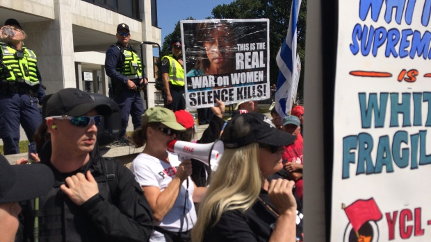 People for Peace and Pegida Canada held rallies Saturday, Aug. 26, 2017 on sidewalk at London city hall. (Matt Thompson / CTV London)