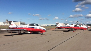 The Snowbirds jets sit parked on the tarmac following a performance at CFB Greenwood in Greenwood, N.S., on Saturday, August 27, 2017. (THE CANADIAN PRESS / Michael MacDonald)