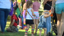 Families at Saturday's Pride in the Park in Okotok