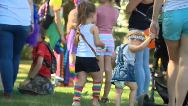 Families at Saturday's Pride in the Park in Okotoks