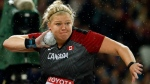 Canada's Brittany Crew makes an attempt in the women's shot put final during the World Athletics Championships in London Wednesday, Aug. 9, 2017. (Matt Dunham/AP Photo)