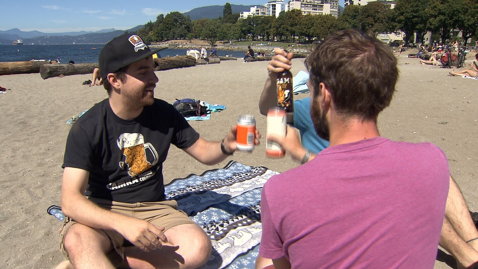 David Perry, left, is part of an advocacy organization that says Vancouver should designate its beaches as liquor-friendly public spaces. (CTV)