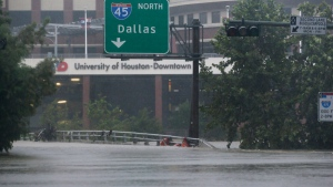 Floodwaters from Tropical Storm Harvey overflow Bu