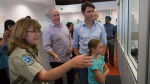 B.C. Premier John Horgan and Prime Minister Justin Trudeau are given a tour of the Williams Lake Wildfire Command Centre on July 31, 2017. (THE CANADIAN PRESS/Darryl Dyck)