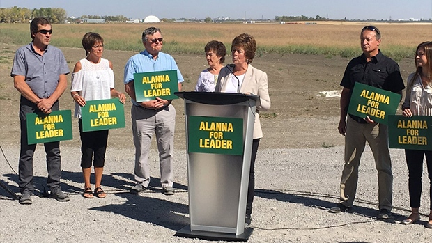 Alanna Koch announces her intention to run for leader of the Saskatchewan Party. (JAMIE FISCHER/CTV REGINA)