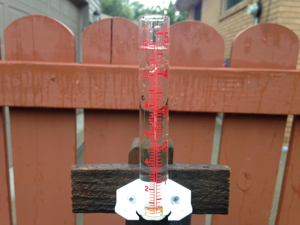 About 4.5 inches of rain fell in about 4.5 hours according to this rain gauge in east Windsor, Ont., on Monday, Aug. 29, 2017. (Chris Campbell / CTV Windsor)